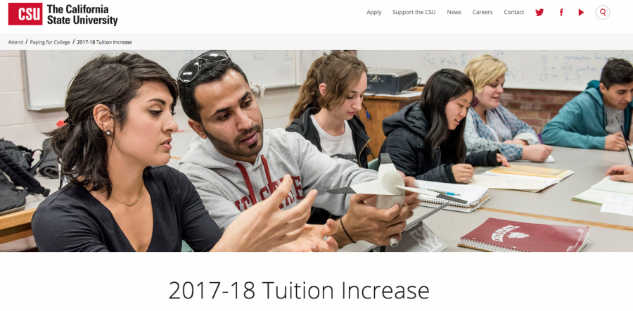 The CSU page describing the upcoming tuition increase. Photo credit: Susan Whaley