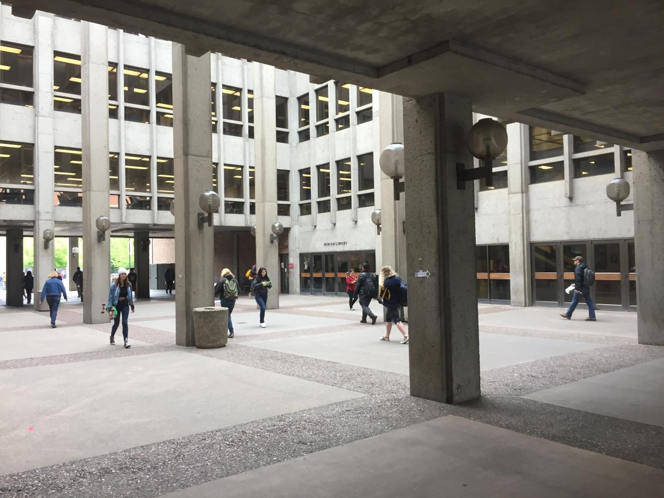 The+breezeway+of+Meriam+Library+expected+to+dramatically+change+over+summer+break.+Photo+credit%3A+Carly+Campbell