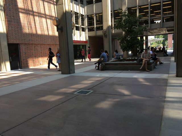 The breezeway and entry ways of the library were remodeled this summer.