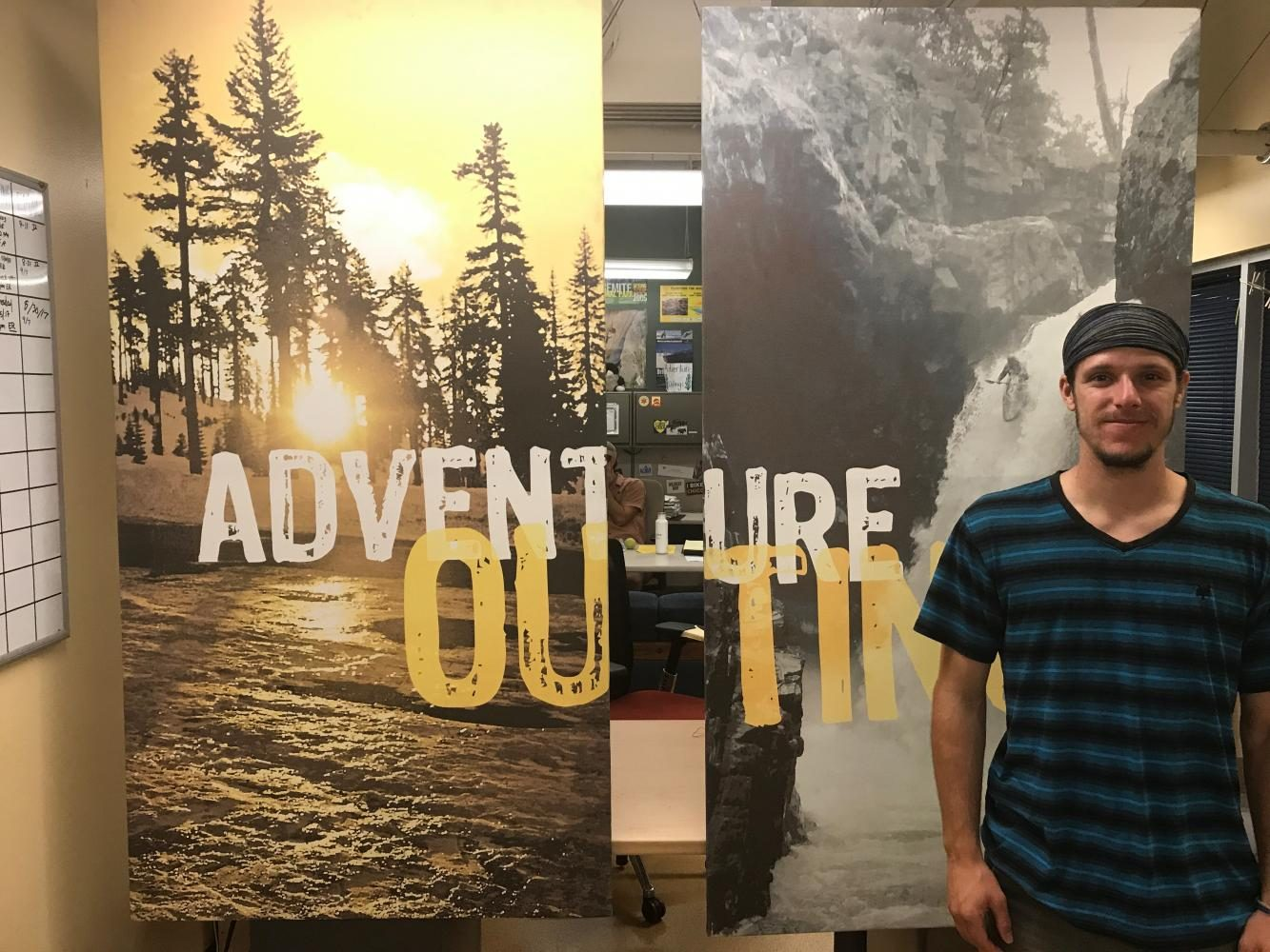 Theo Myers is an Aventure Outings representative and invites student to participate. Photo credit: Christian Solis