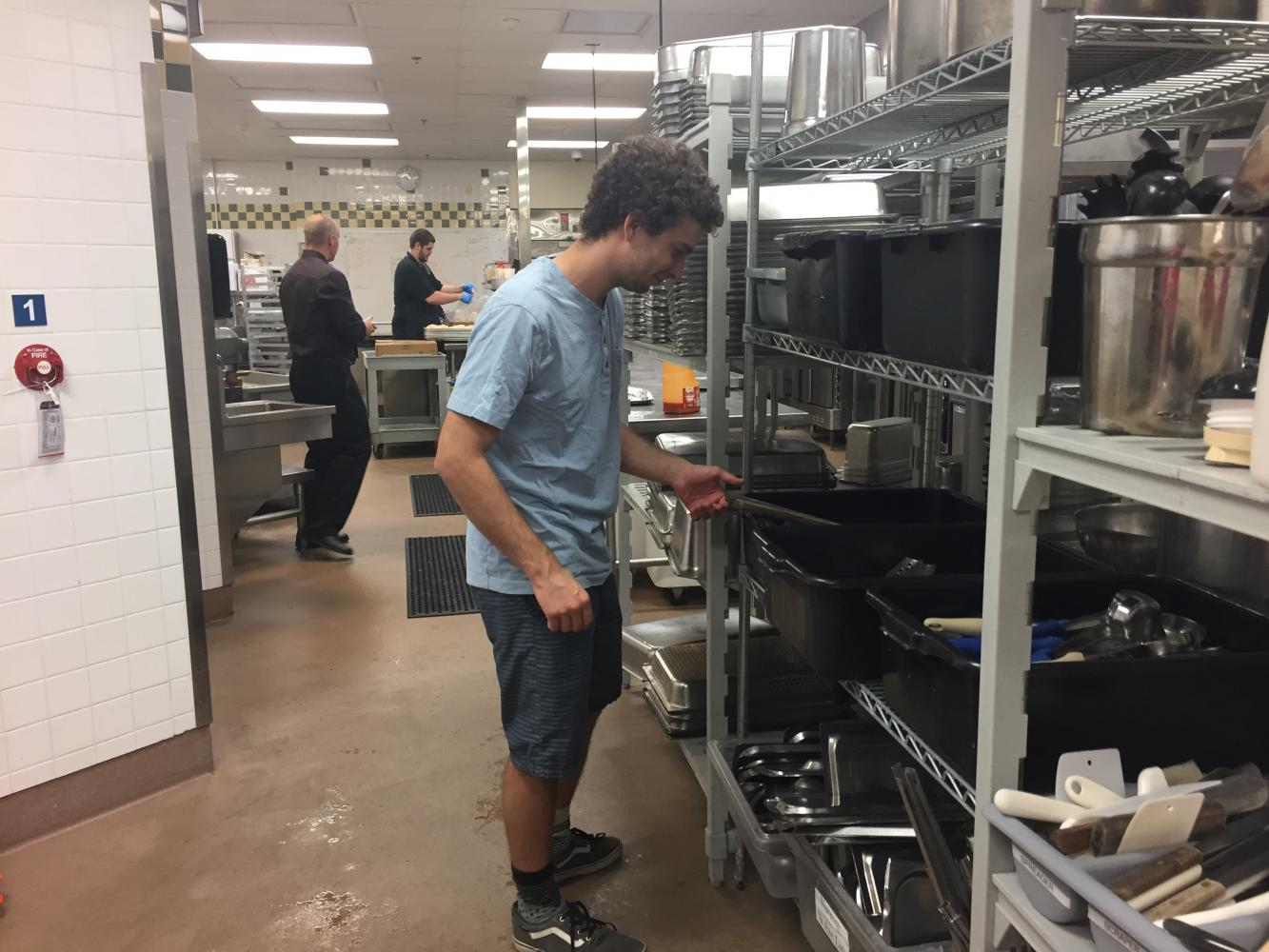 Reporter Alex Grant tours the dining hall kitchen Photo credit: Nicole Henson