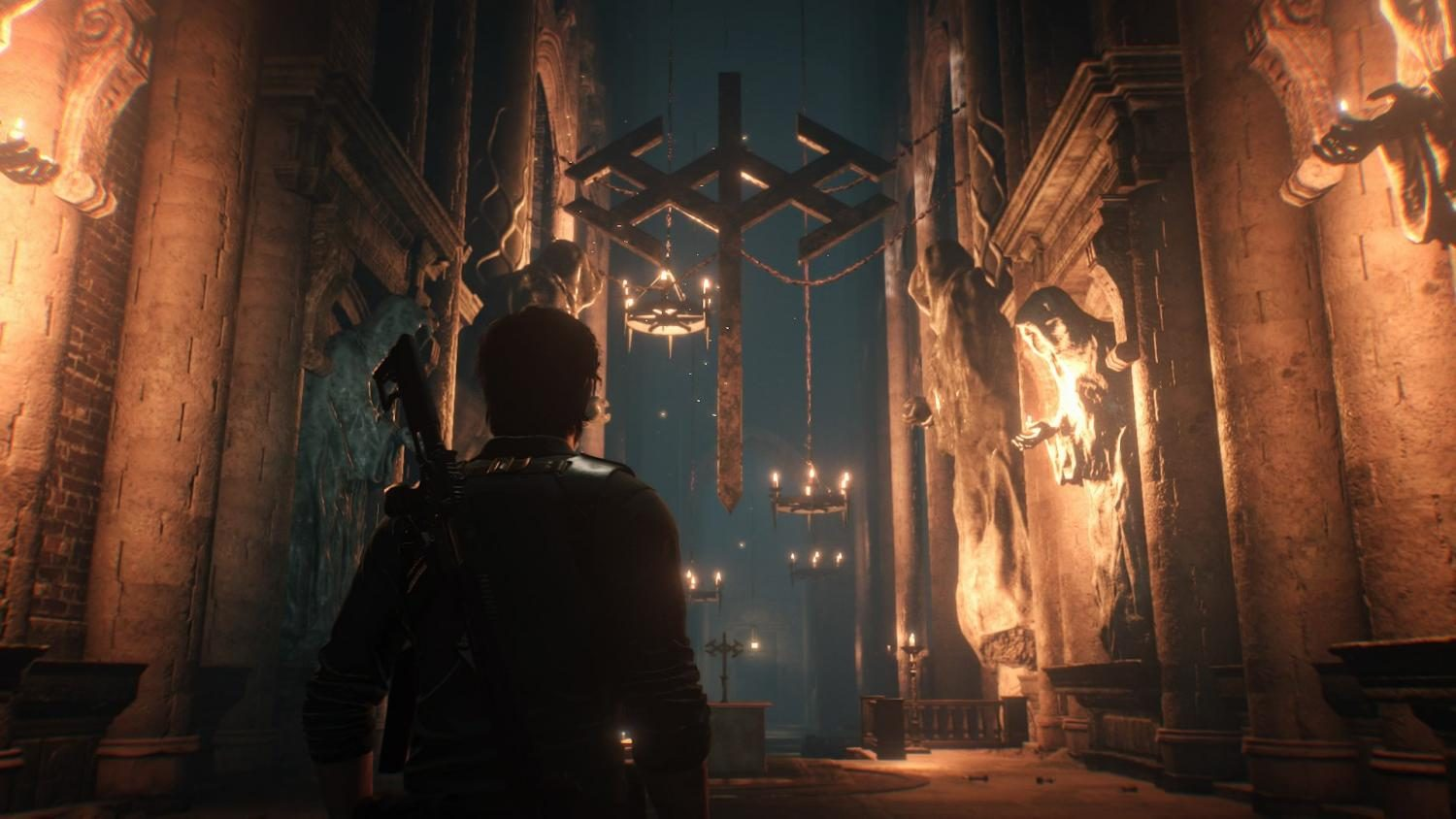 Sebastian enters a demonic church. The best moments of horror and fear come from this section of the game. Photo credit: Ulises Duenas