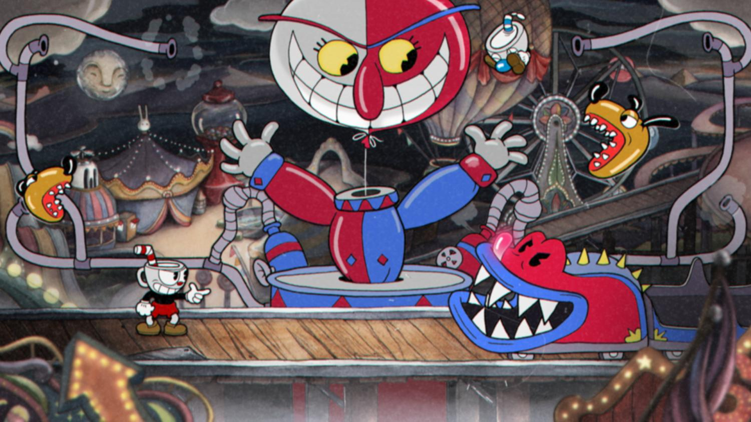 Cuphead fights a monstrous roller-coaster that has come to life.   Image from steam.com