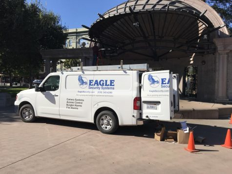 Five cameras are installed in the plaza and will be streamed to the Old Municipal Building.