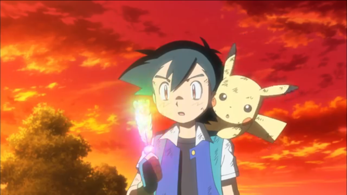 Ash receives a Rainbow Wing from legendary Pokemon Ho-Oh, which will help guide Ash's journey to meet Ho-Oh