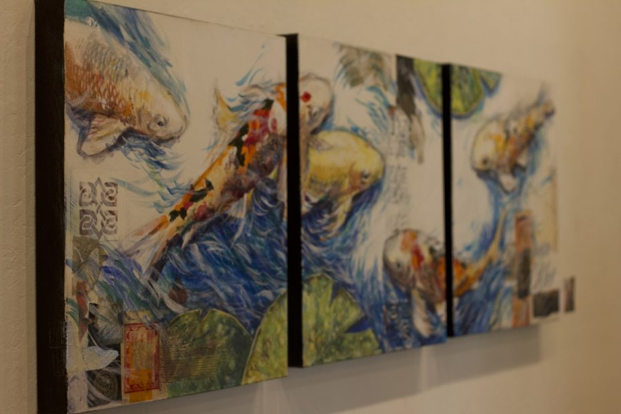 """""""Koi."""" This mixed media piece is made by Janet Lombardi Blixt."""