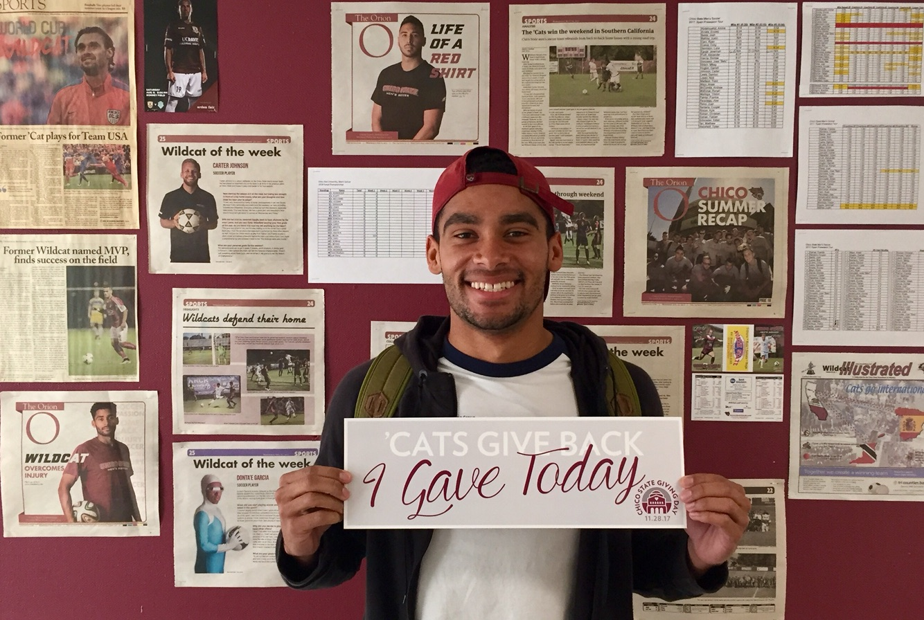 Chico State alumni, Dylan Wakefield, gave to the Chico State men's soccer team. Image Credit to Bertin Loyola.