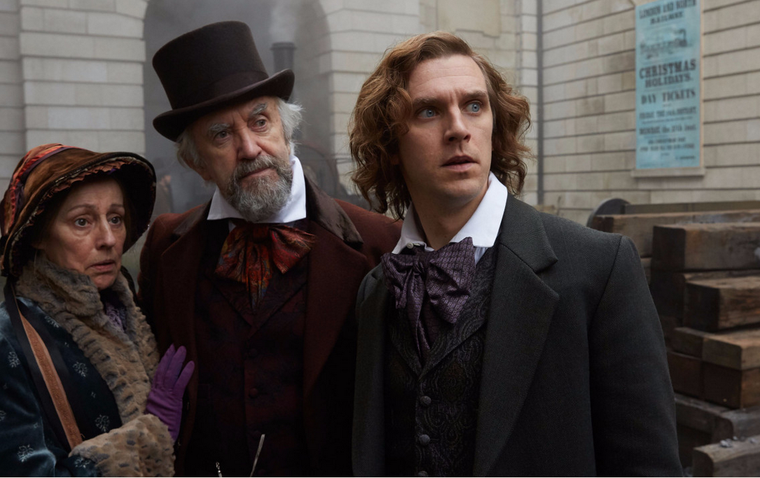 (left to right) Ger Ryan, Jonathan Pryce and Dan Stevens star in The Man Who Invented Christmas  Photo by The Man Who Invented Christmas, Bleeker Street