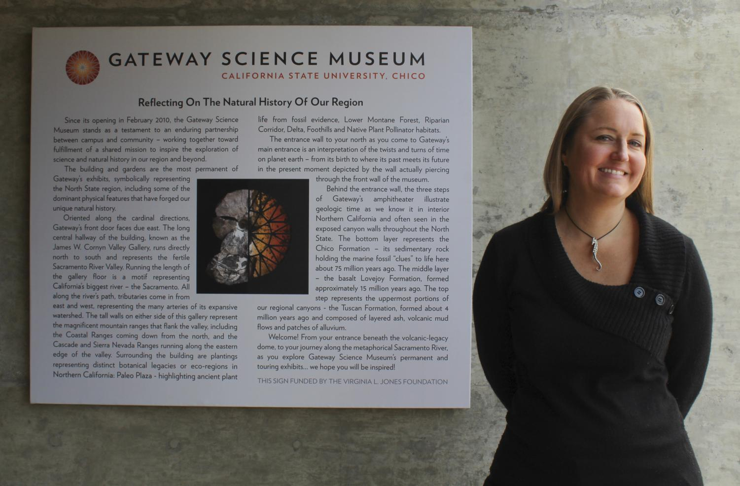After a months-long national search, Chico state has named Adrienne McGraw as the new executive director of Gateway Science Museum. This image taken on January 25th shows the new director standing in front of the museum. Photo credit: Anne Chamberlain