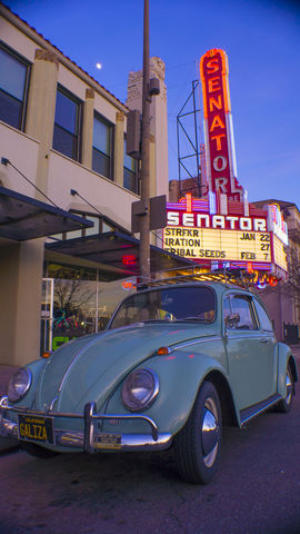 Volkswagon Beetle outside Senator Theater in downtown Chico, Sunday.