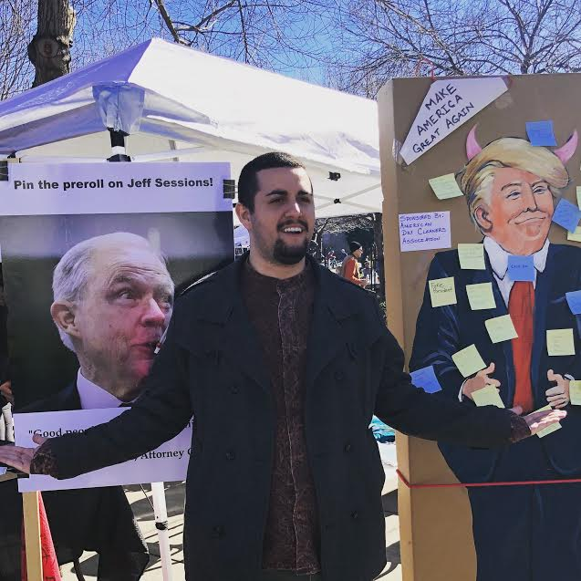Samuel Monteon held a booth for his new organization Chico Cannabis Club at the Women's March last Saturday. Photo courtesy of Samuel Monteon