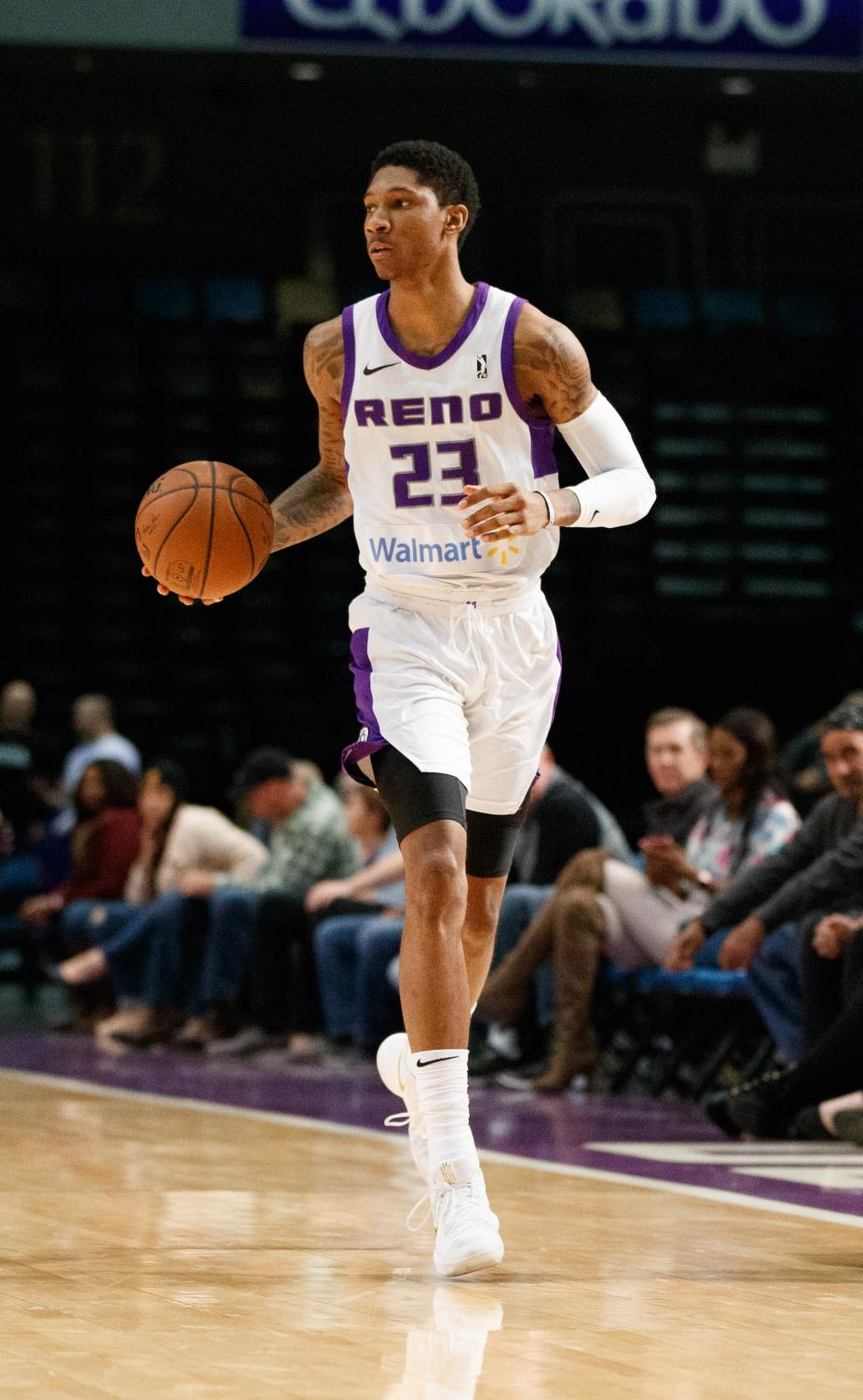 Reno Bighorns Guard Michael Bethea during the NBA G-League Basketball game between the Reno Bighorns and the Memphis Hustle.  Photo courtesy of Michael Bethea