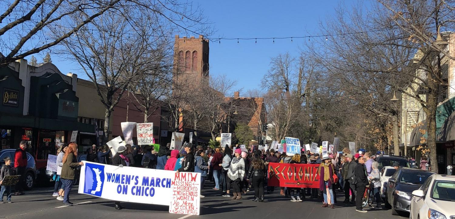 Many people gathered to participate in the Women's March on Chico 2018 Saturday.