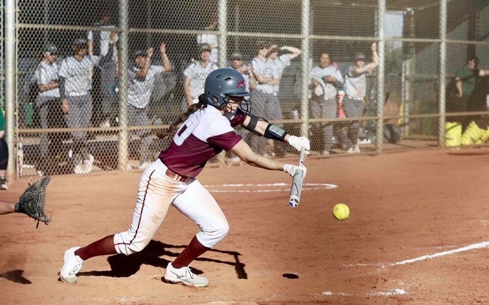 Kristin Worley in an at bat against Eastern New Mexico at the Desert Stinger Classic in Las Vegas. Photo Courtesy: Janna Weiss Photography