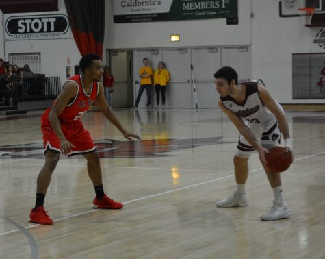Wildcats' Corey Silverstrom matches up against a Cal State East Bay defender. Photo credit: Courtney Chapman