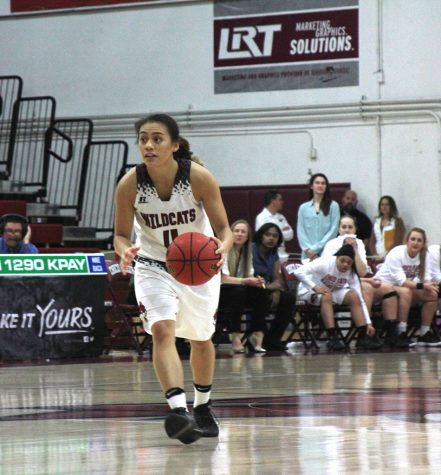 Guard Madison Wong dribbles the ball up the court in Chico State's first round playoff matchup against Cal State LA. Photo credit: Martin Chang