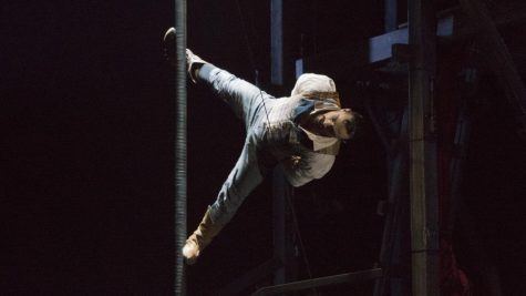 Acrobat Felix Pouliot performs the