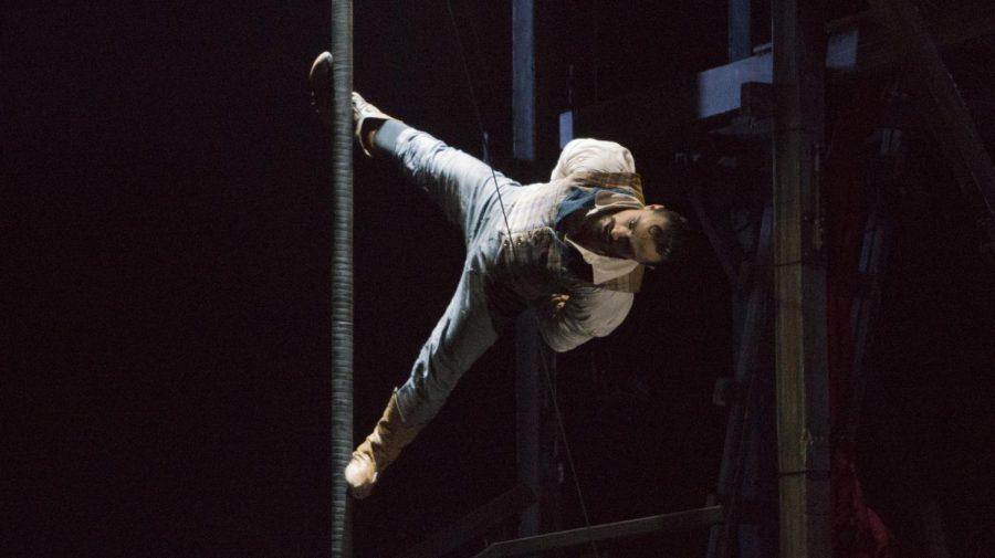 Acrobat Felix Pouliot performs the