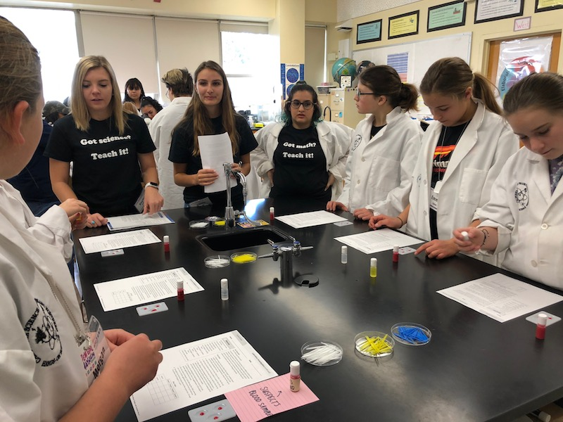 Students+in+one+team+prepare+to+test+their+%22blood%22+samples+for+a+DNA+experiment.+Photo+credit%3A+Natalie+Hanson