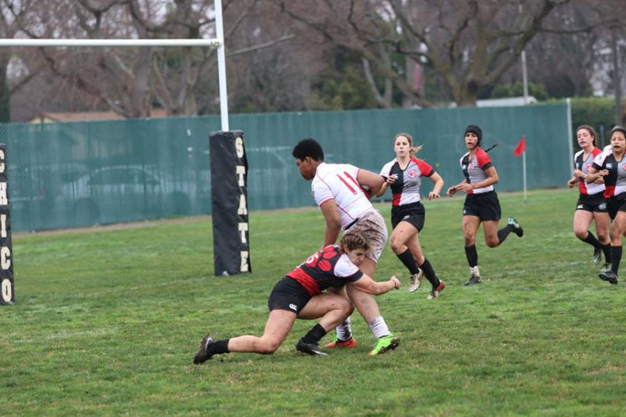 Darby+McFall+making+a+tackle+for+Chico+State.%0APhoto+courtesy+of+Chico+State+Women%27s+Rugby