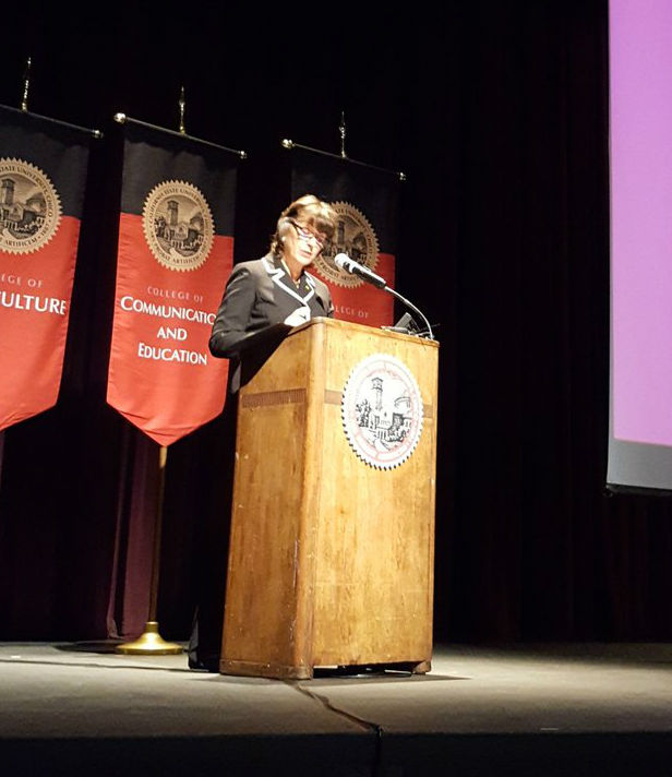 Chico State President Gayle E Hutchinson spoke about budget concerns at The State of the University Address meeting on Monday. Photo credit: Tisha Cheney