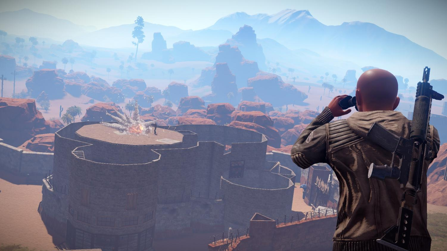 A player scouts a base.  image from rust.facepunch.com Photo credit: facepunch.com