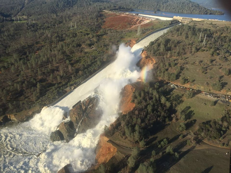 Erosion damage on the bottom half of the Oroville Spillway prompted the Department of California Water Resources to reduce the outflow from the lake. Photo courtesy of the Department of California Water Resources.