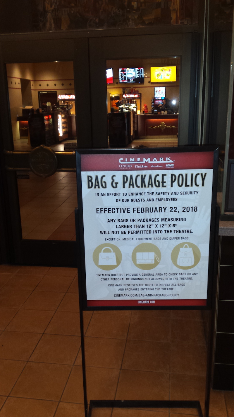 Cinemark bans large bags from movie theatres as security precaution
