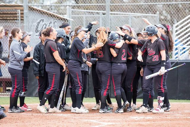 Softball team celebrating after a hit. Photo Courtesy: Janna Weiss Photography