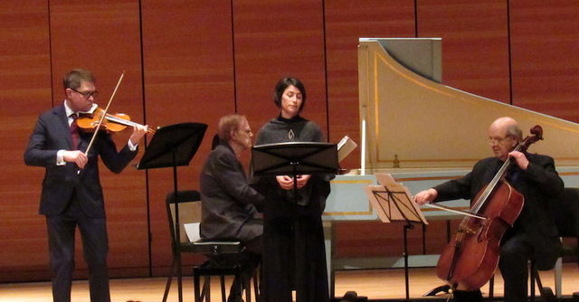 Scholz+was+accompanied+by+Matt+Raley+on+violin%2C+Robert+Bowman+on+harpsichord+and+Burke+Schuchman+on+cello.+Photo+credit%3A+Natalie+Hanson