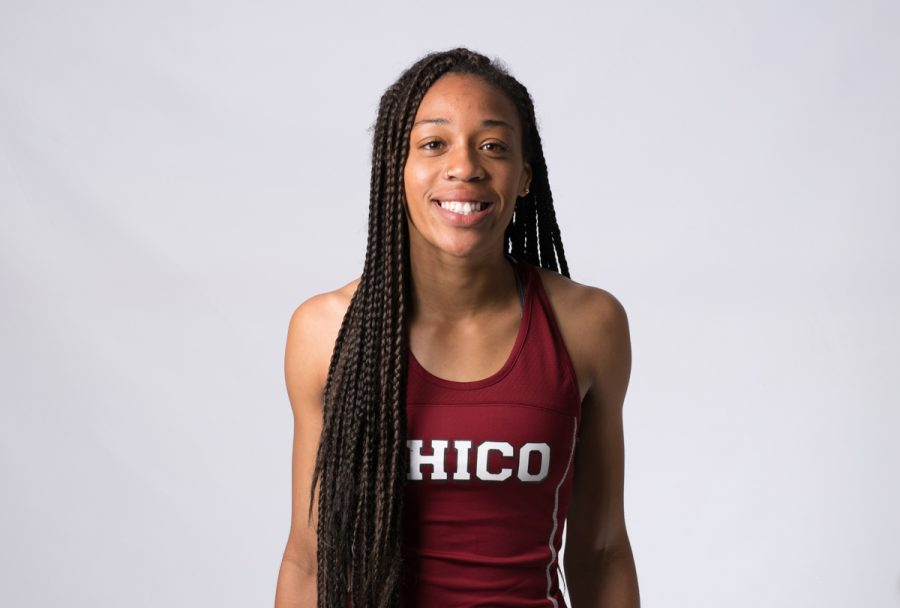 Chico State Track and Field sprinter Michelle Holt. Photo by Kate Angeles.