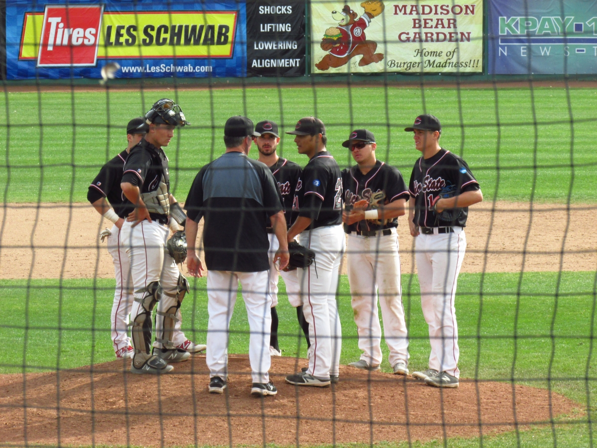 Manager Dave Taylor makes a mound visit to talk with relief pitcher Anthony Baleto Photo credit: Austin Schreiber