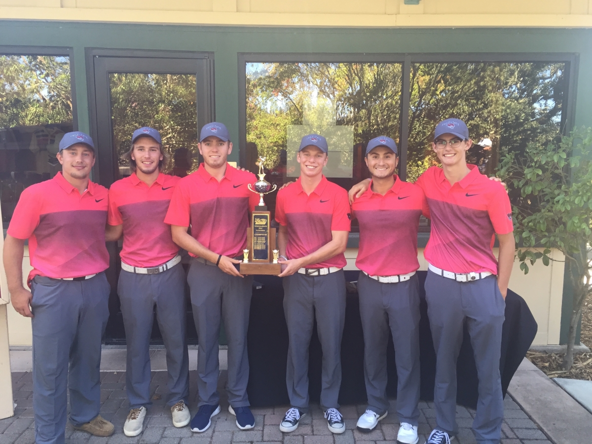 Chico State men's golf team celebrating a victory during the 2017-2018 season. Photo Courtesy: Nick Green