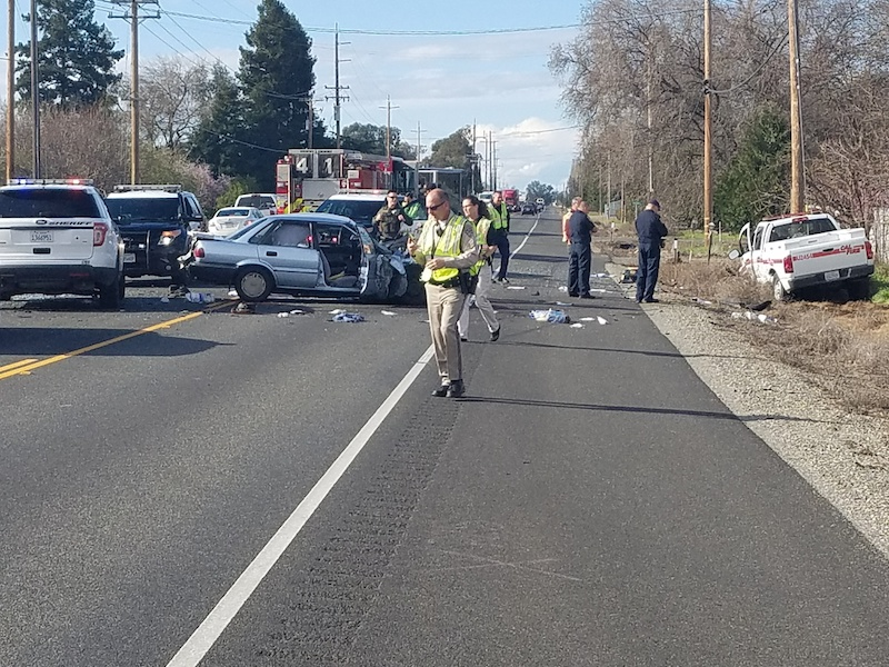Emergency responders are currently investigating the scene of a fatal crash on Highway 99 near Keefer Road. Image courtesy of Rick Carhart, Informations Officer for CAL Fire.