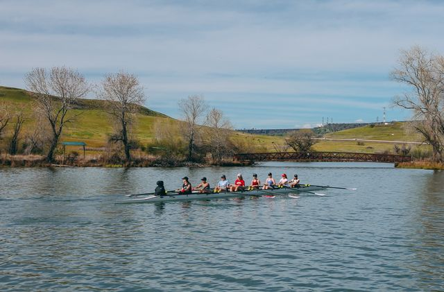 Members of the Chico State Rowing Club get in some practice in at the Oroville Forebay.   Photo courtesy of Patrick Moran