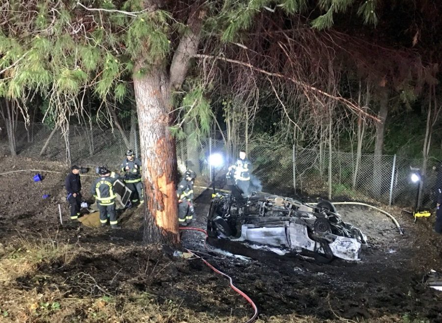 Chico firefighters arrived to extinguish flames on the truck, while northbound Highway 99 at East 1st Ave remained closed. Image courtesy of the Chico Fire Department.