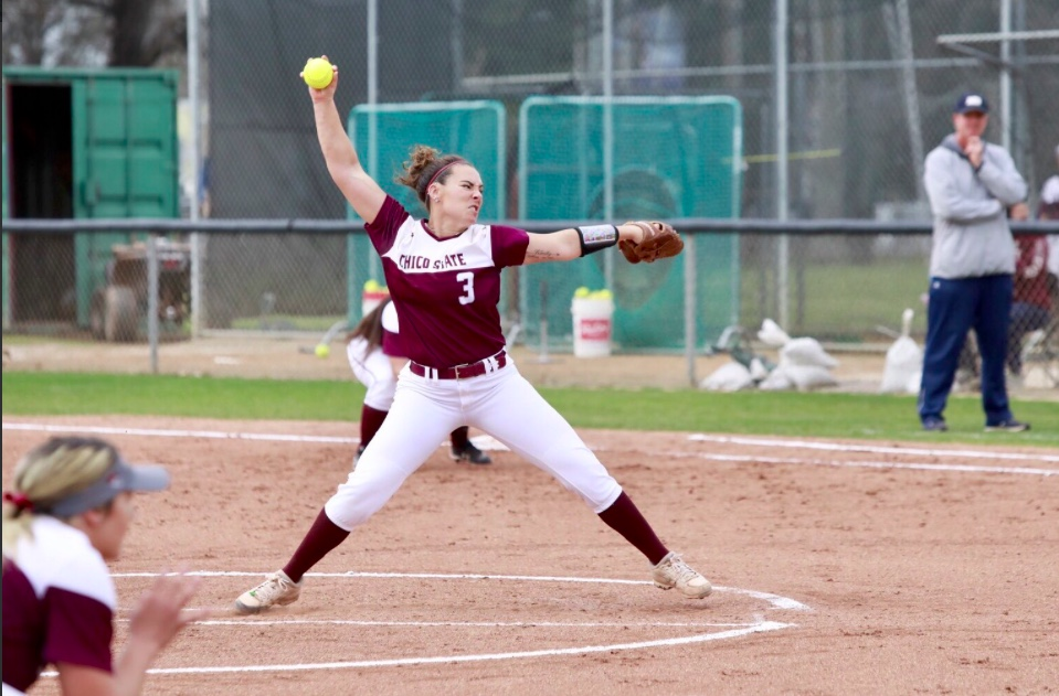 Haley Gilham tosses a pitch in her first no hitter as a Wildcat. Photo Credit: Janna Weiss Photography