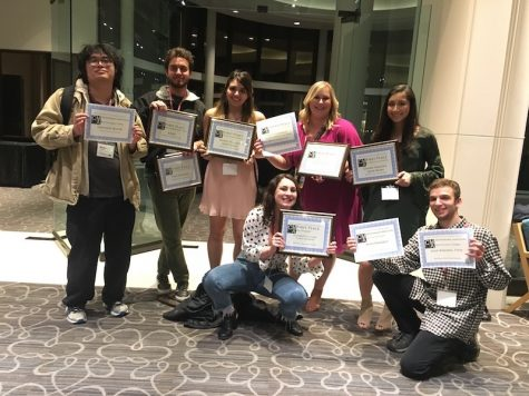 The Orion received nine awards in total from CCMA, including first place for best newspaper at a large college. L to R: Martin Chang, Sean Martens, Natalie Hanson, Nicole Henson, Kayla Fitzgerald, Julia Maldonado, Alex Grant.