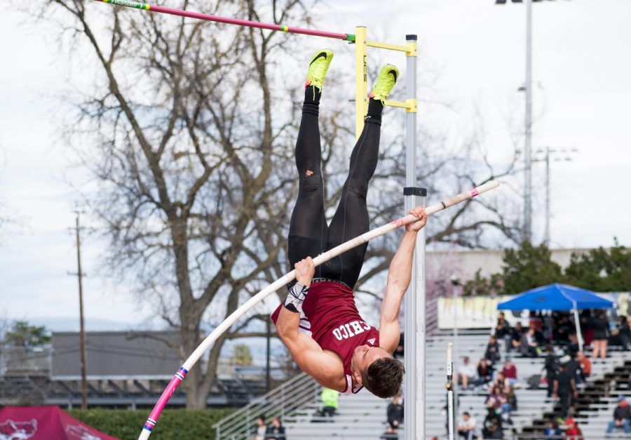 Chico State Pole Vaulter Randall LeBlanc attempts to launch himself up and over the bar at the Wildcat Invitational on Saturday at University Stadium. Photo credit: Kate Angeles