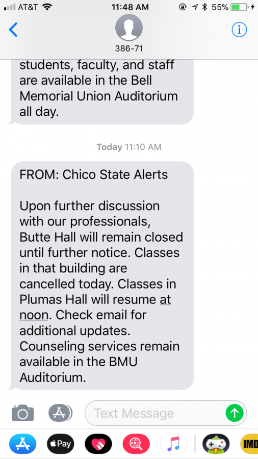 Classes in Butte Hall have been canceled until further notice.