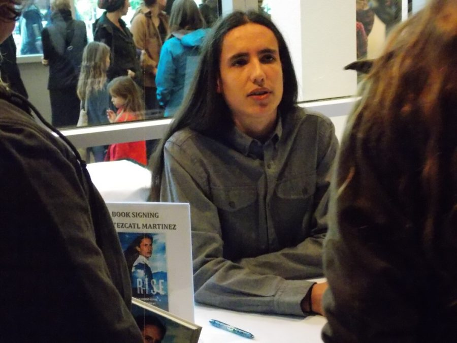 Xiuhtezcatl+Martinez+signed+copies+of+his+new+book+%22We+Rise%22+after+Wednesday%27s+talk.