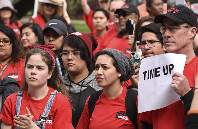 Protesting students from all over California at the April 4 protest of the tuition increase.