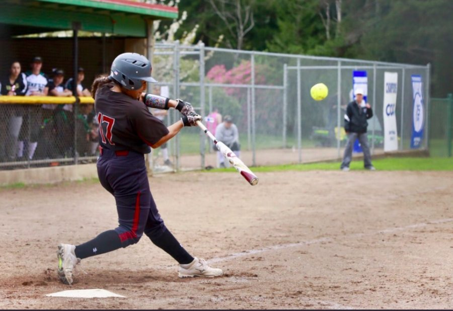 Pitcher+Amanda+Flores+had+seven+hits%2C+six+RBIs+and+her+first+home+run+as+a+Wildcat+in+the+four+game+series+against+Humboldt.+Photo+Courtesy%3A+Janna+Weiss+Photography