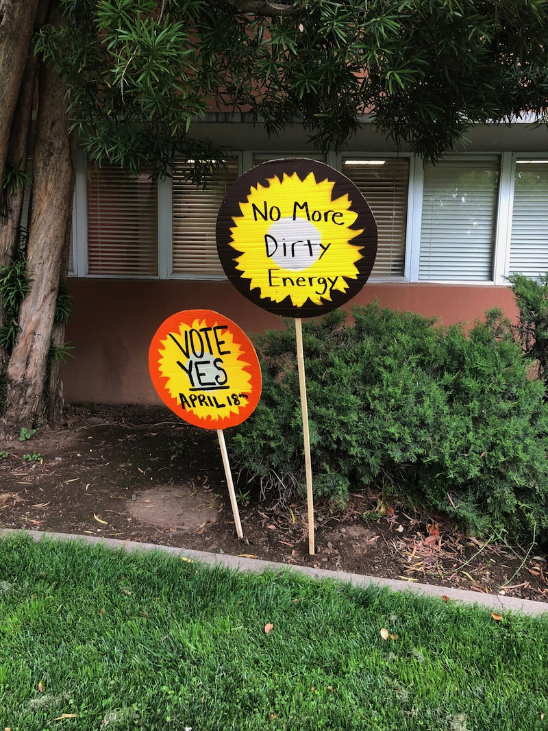 A group of students worked this spring to call for more attention to the issue of climate change around campus. Photo credit: Natalie Hanson