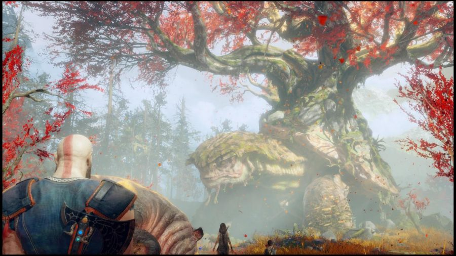 Kratos+and+Atreus+follow+a+witch+who+lives+under+a+giant+tortoise.+Photo+credit%3A+Ulises+Duenas