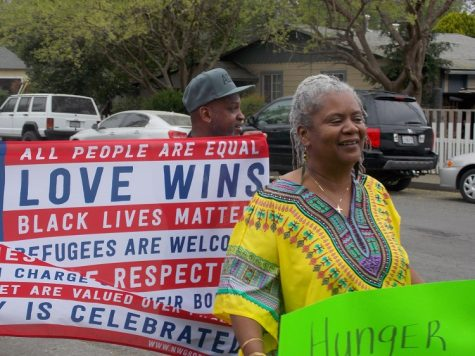 Frances Mann marched and then sang several hymnal songs on Martin Luther King's honor. Photo credit: Josh Cozine