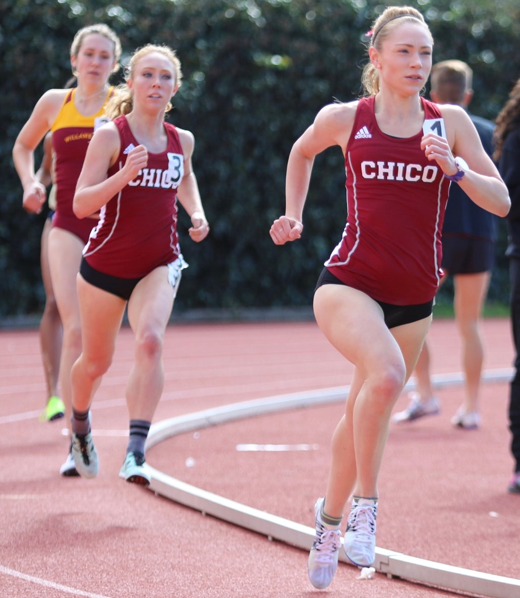 Alex Burkhart and Alexandria Tucker participate in the 5,000 meter run. Burkhart finished sixth in the 5,000 at the Portland Twilight while Tucker finished 13th. Photo credit: Gary Towne