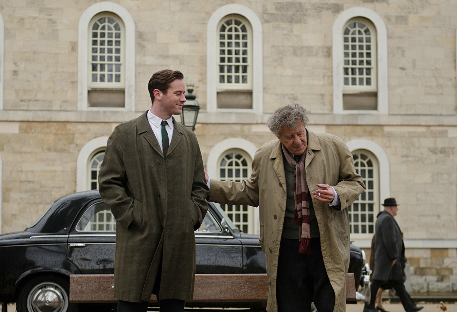Armie Hammer and Geoffrey Rush star as James Lord and Alberto Giacometti in