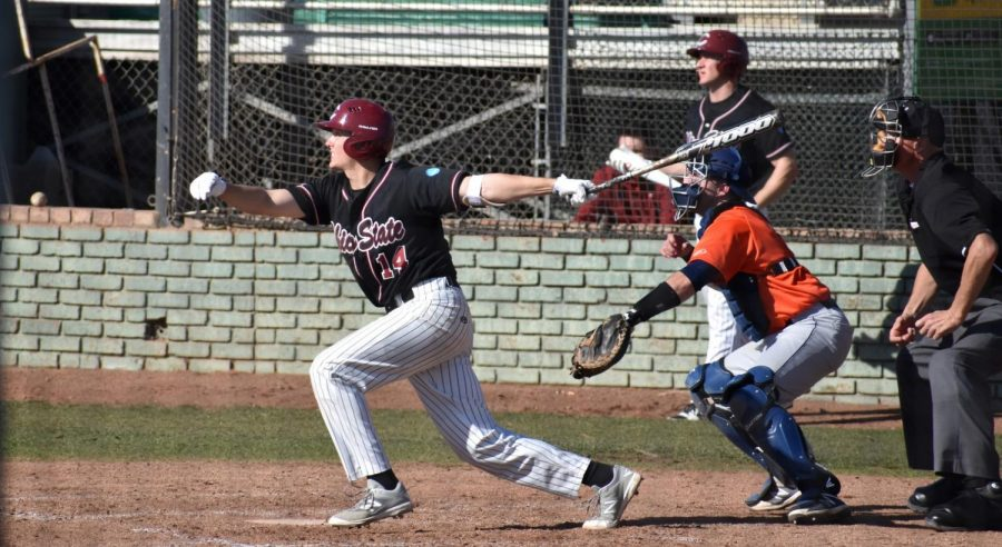 Right fielder Kyle Blakeman launches a home run in the third inning against Cal Poly Pomona Photo credit: Martin Chang