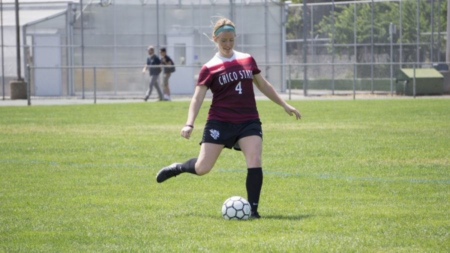 After being forced to red shirt her freshman year due to a broken ankle, Chico State striker Erin Woods is returning for her fifth year with the Chico State women's team in the fall. Photo credit: Carly Maxstone